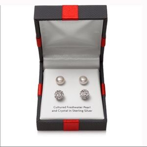 Jewelry - ~HP~ SS Freshwater Pearl & Crystal Ball Stud Set